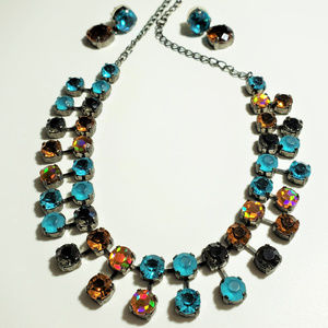 Amber and Turquoise Crystal Statement Necklace Ear